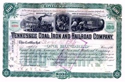 Tennessee Coal, Iron and Railroad Company 1898 signed by George W. Ely, New York Stock Exchange Secretary