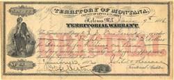 Territorial Warrant - Lewis and Clarke County, Helena, Montana Territory - 1886