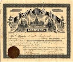 Texas World's Fair Exhibit Association - Fort Worth, Texas 1891