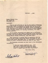 Teresa Wright letter to Riggio Tobacco Corp. - New York 1943