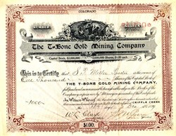 T-Bone Gold Mining Company - Cripple Creek , Colorado 1899