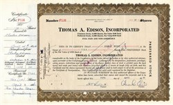 Thomas A. Edison, Incorporated signed by Charles Edison - New Jersey 1946