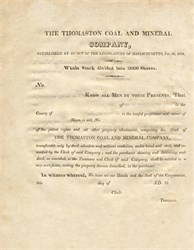 Thomaston Coal and Mineral Company - Massachusetts 1818