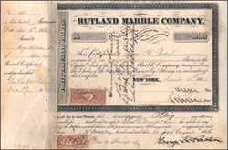 Rutland Marble Company 1864 - Civil War Period with IRS Tax Stamp