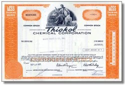 Thiokol Chemical Corp Stock -Famous Rocket Company - Challanger Failure