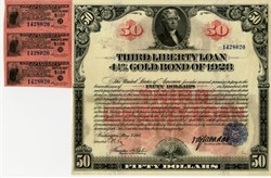 Third Liberty Loan 4 1/4% Gold Bond of 1928 - Bearer Bond  - Washington, D.C., May 9, 1918, $50