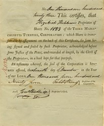 Third Massachusetts Turnpike Corporation (MA) signed by Caleb Strong - 1795