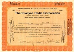 Thermiodyne Radio Corporation (Thermiodyne made the first single-dial-tuned radio. )  - Plattsburgh, New York - 1925