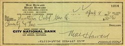 Three Stooges Moe Howard Signed Check - 1971