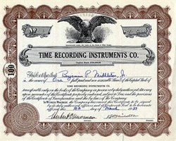 Time Recording Instruments Company - New Jersey 1937