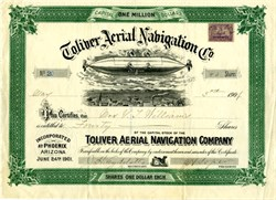 Toliver Aerial Navigation Co. (Airship vignette) - Arizona 1901
