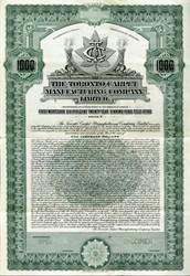 Toronto Carpet Manufacturing Company, Limited - Specimen Gold Bond -  Canada 1924