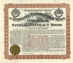 Tombstone Arizona Consolidated Mines Company - $1,000 Gold Bond 1903 signed by E.B. Gage