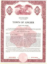 Town of Angier Town Hall Bond - North Carolina 1956