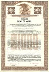 Town of Ayden Sanitary Sewer Bond - North Carolina 1957