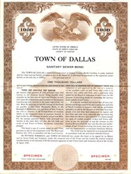 Town of Dallas Sanitary Sewer Bond - North Carolina 1956