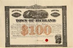 Town of Richland $100 Bond - New York 1870