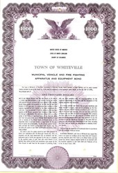 Town of Whiteville Municipal Vehicle and Fire Fighting Apparatus and Equip. Bond - North Carolina 1961