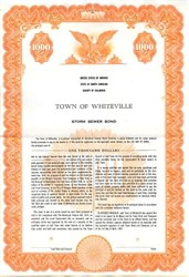 Town of Whiteville Storm Sewer Bond - North Carolina 1961
