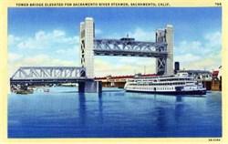Tower Bridge Elevated for Steamer - Sacramento, California