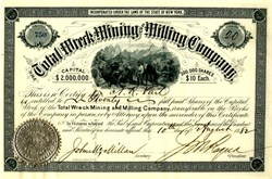 Total Wreck Mining and Milling Co. Stock Certificate - Arizona Territory 1882