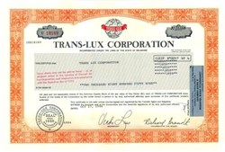 Trans - Lux Corporation - Professional Sport Scoreboards - Oldest AMEX Listing