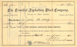 Trinidad Asphaltum Block Company - New Jersey 1893