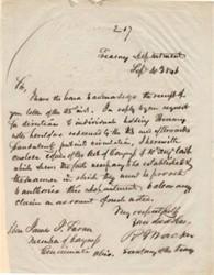 Treasury Department Letter re: Fraudulent Treasury Notes- Signed by Secretary of the Treasury, Robert J. Walker -  1846