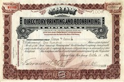 Trow Directory Printing and Bookbinding Company - New Jersey 1917
