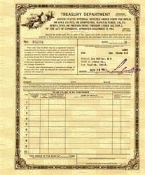 Treasury Department Internal Revenue Opium Order Form dated 1943