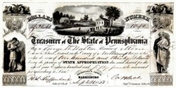 Treasurer of the State of Pennsylvania (Very Ornate) - 1859