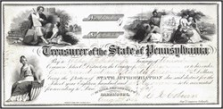 State of Pennsylvania Appropriation Check - 1858