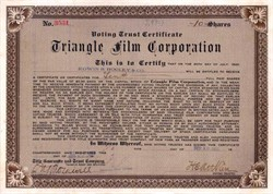 Triangle Film Corporation - 1915 signed by Harry E. Aitken