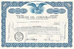 Tribune Oil Corporation Stock Certificate