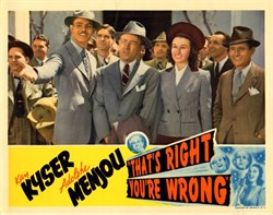 That's Right You're Wrong Lobby Card Starring Kay Kyser and Adolphe Menjou