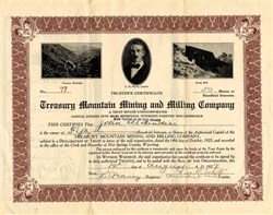 Treasury Mountain Mining and Milling Company - Wyoming 1927