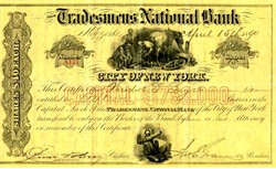 Trademens National Bank of City of New York - New York 1890