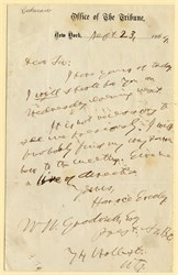 Handwritten note by Horace Greeley - 1864