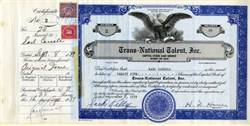 Trans-National Talent, Inc. signed by Earl Carroll (Earl Carroll's Vanities) and H.D. Hover (Founder Ciro's nightclub) - Hollywood, California 1939