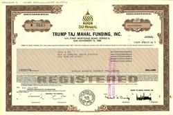 ' Trump Taj Mahal Funding, Inc. -  $500,000 14% First Mortgage Bond   (Pre Bankruptcy) - Printed Signatures of Donald Trump and Robert Trump  - 1989
