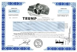 Trump Hotels and Casino Resorts Stock Certificate (Pre Bankruptcy)  - Donald Trump as Chairman - 1998