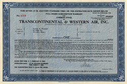 Transcontinental & Western Air, Inc. - ( Early TWA Airlines ) - Delaware 1949