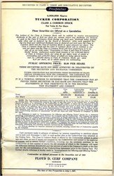 Tucker Automobile Corporation  - SCARCE Prospectus and Green Stock Certificate - 1947