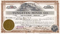 Tungsten Mines Company - San Francisco, California 1921