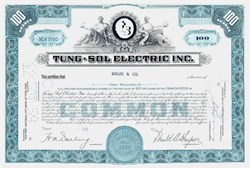 Tung-Sol Electric Tube Company Stock Certificate