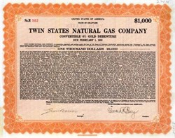 Twin States Natural Gas Company 1930 - Gold Debenture