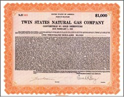 Twin States Natural Gas Company 1933 - Convertible Gold Debenture