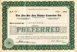 Two Nine Six Nine Wilshire Corporation Ltd. - Los Angeles 1931
