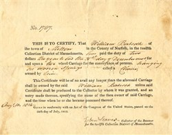 Two Wheel Carriage Tax Certificate - Milton, Massachusetts 1814