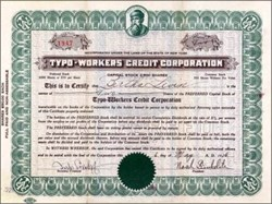 Typo Workers Credit Corporation 1920's - vignette of Johannes Guttenberg
